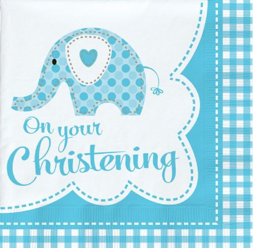 SWEET ELEPHANT ON YOUR CHRISTENING BLUE LUNCH NAPKINS
